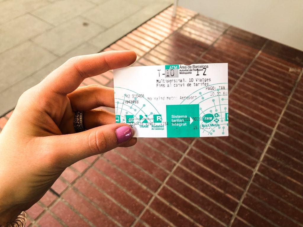 T10 transportation card in Barcelona