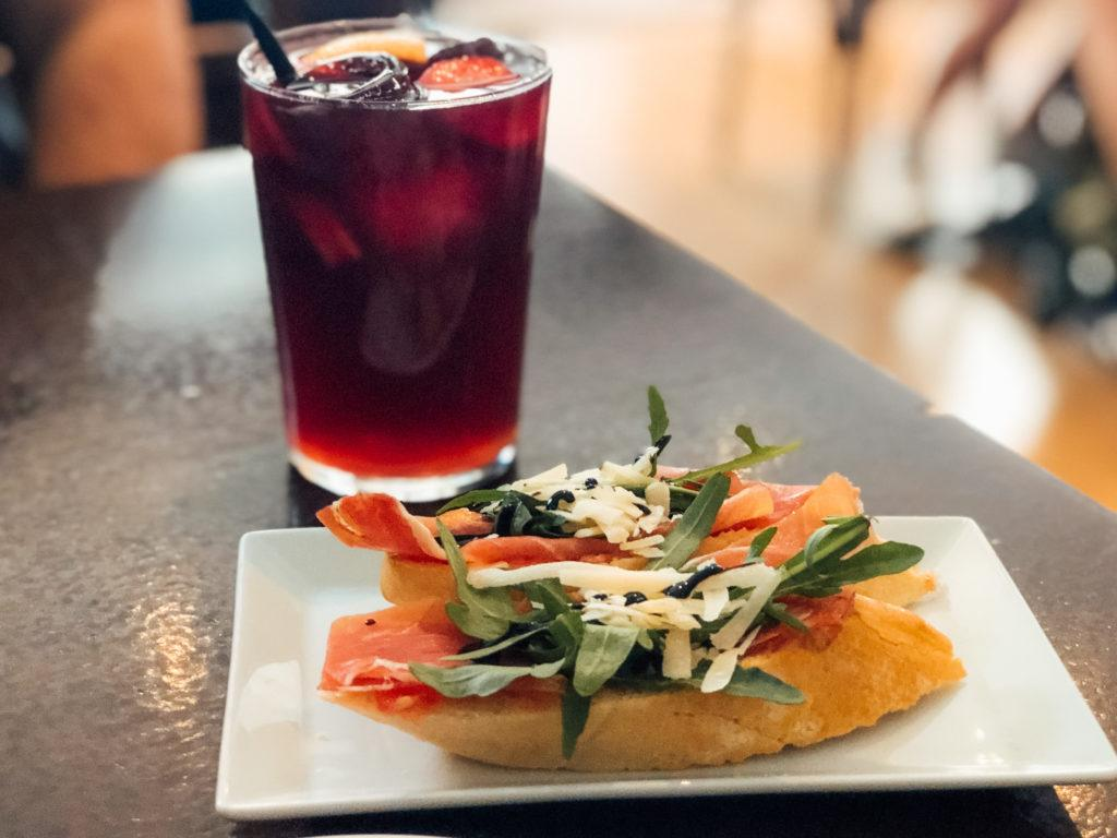 Red sangria and tostadas at Tosca Tapas y Vino - Barcelona