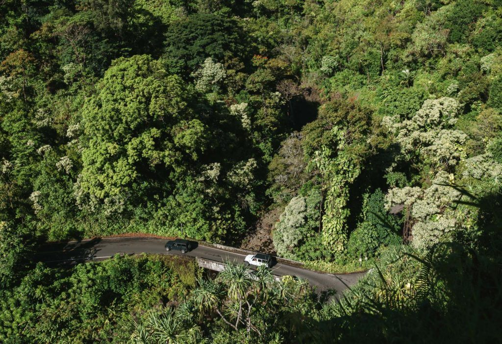 View of the Road to Hana from Garden of Eden in Maui.