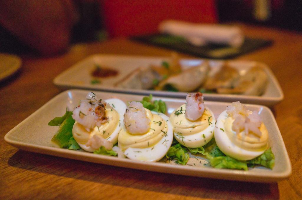Lobster Deviled Eggs at Monkeypod Kitchen in Maui.