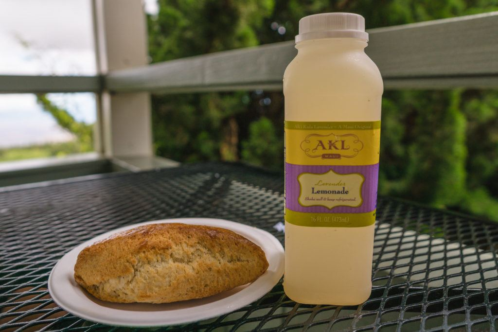 Lavender scone and lavender lemonade at Ali'i Kula Lavender Farm in Maui.