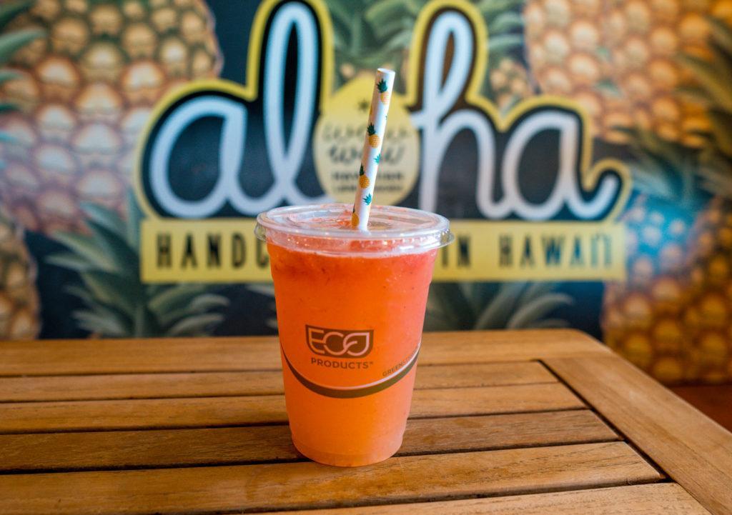 Strawberry pineapple lemonade from Wow Wow Hawaiian Lemonade in Maui.