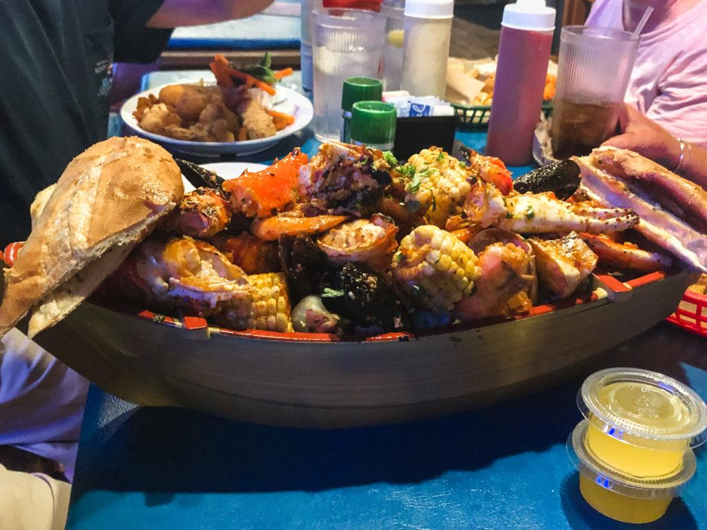Seafood boat special at Phillippi Creek Oyster Bar in Sarasota, Florida.