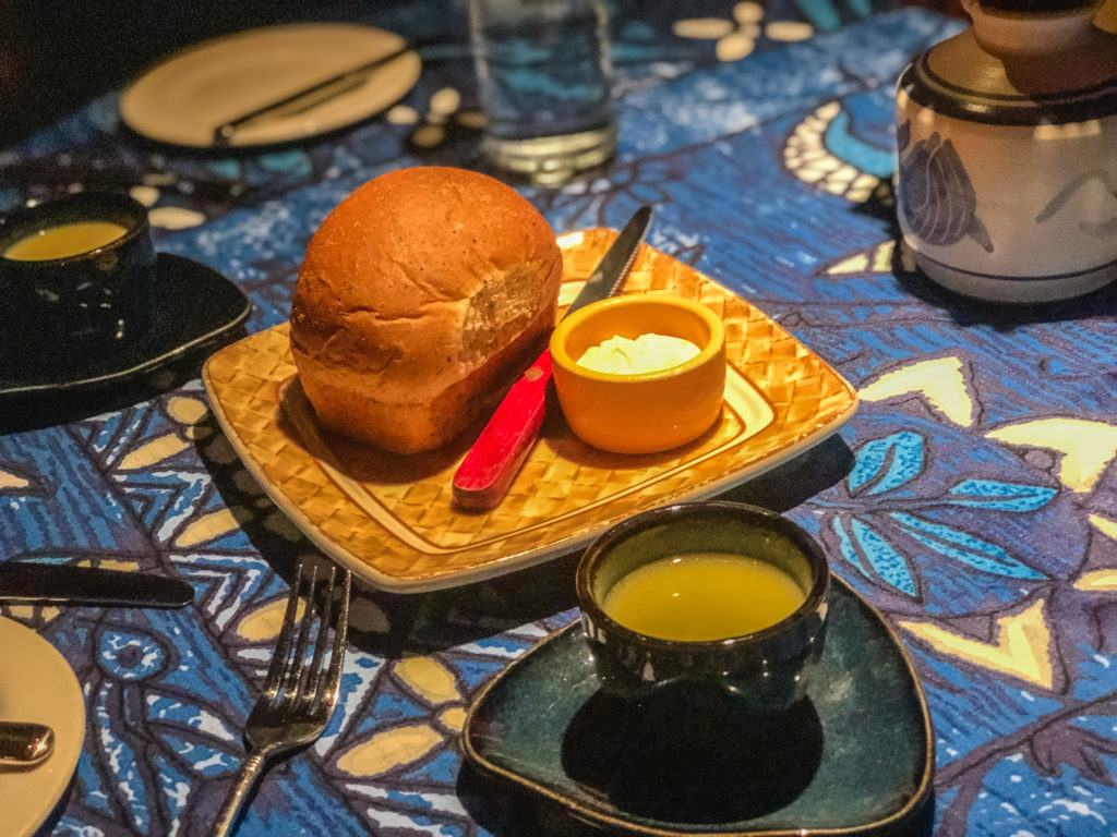 Complimentary bread and soup at Mama's Fish House in Maui.
