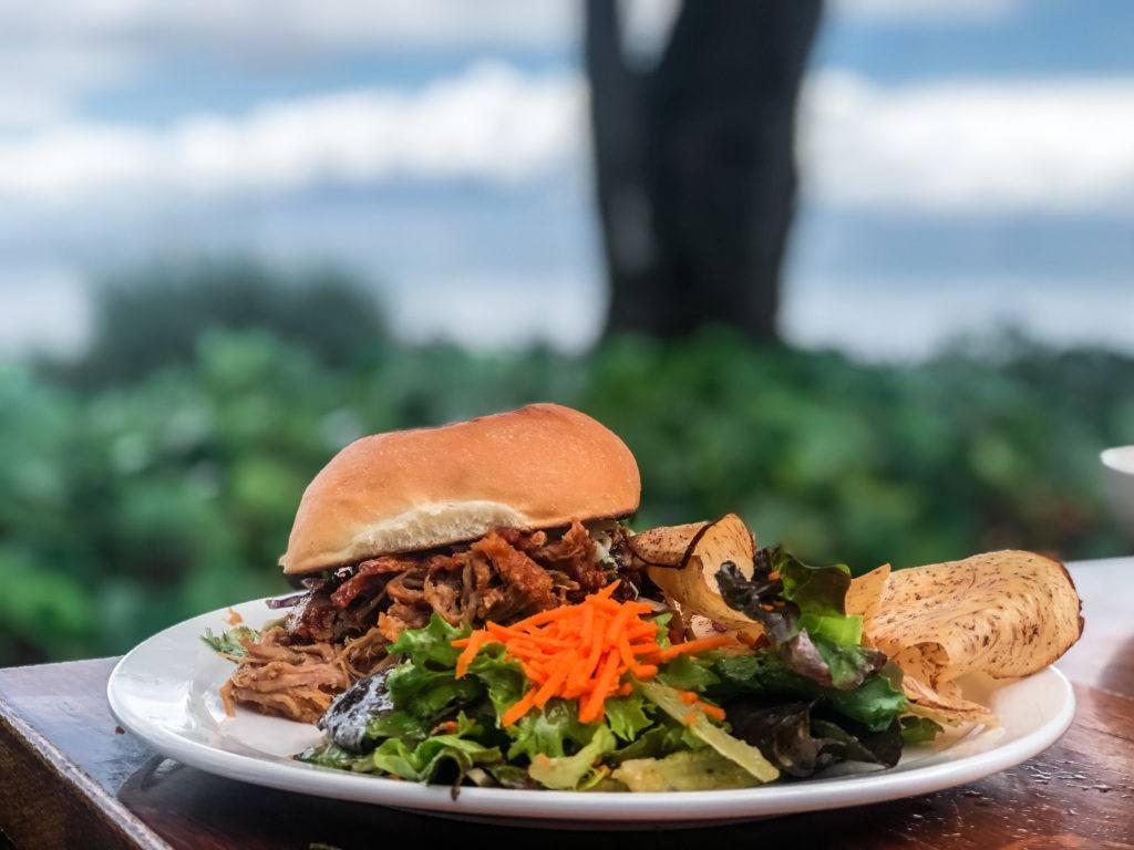 Kalua Pig Sandwich at Aloha Mixed Plate in Maui.