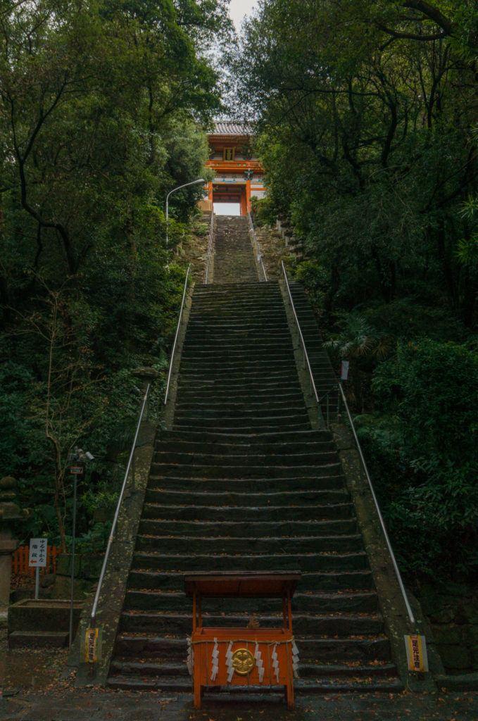 Stairs at Kishu Toshogu Shrine in Wakayama City, Japan