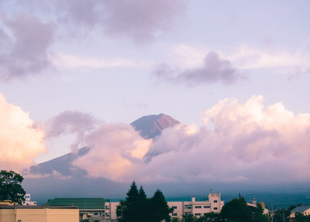 View of Mt. Fuji in the summer.