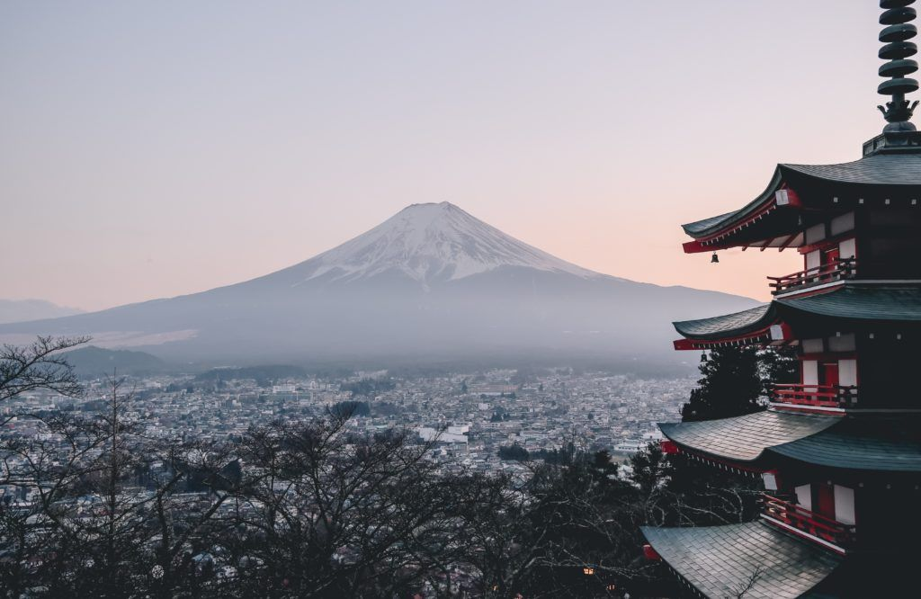View of Chureito Pagoda and Mount Fuji.