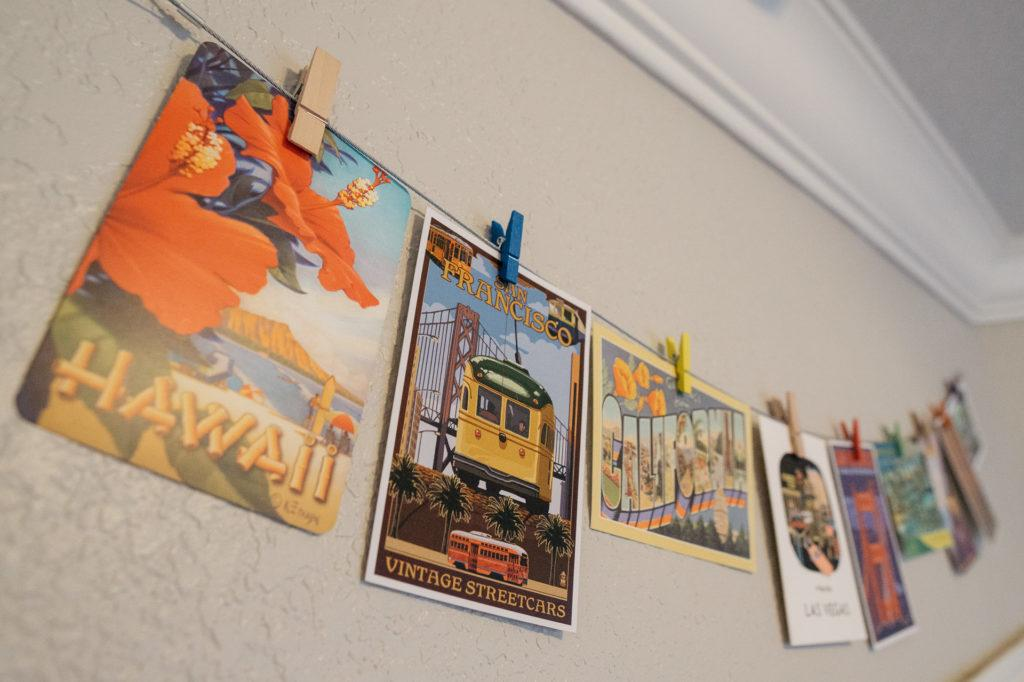 Postcard bunting - decorating with travel souvenirs
