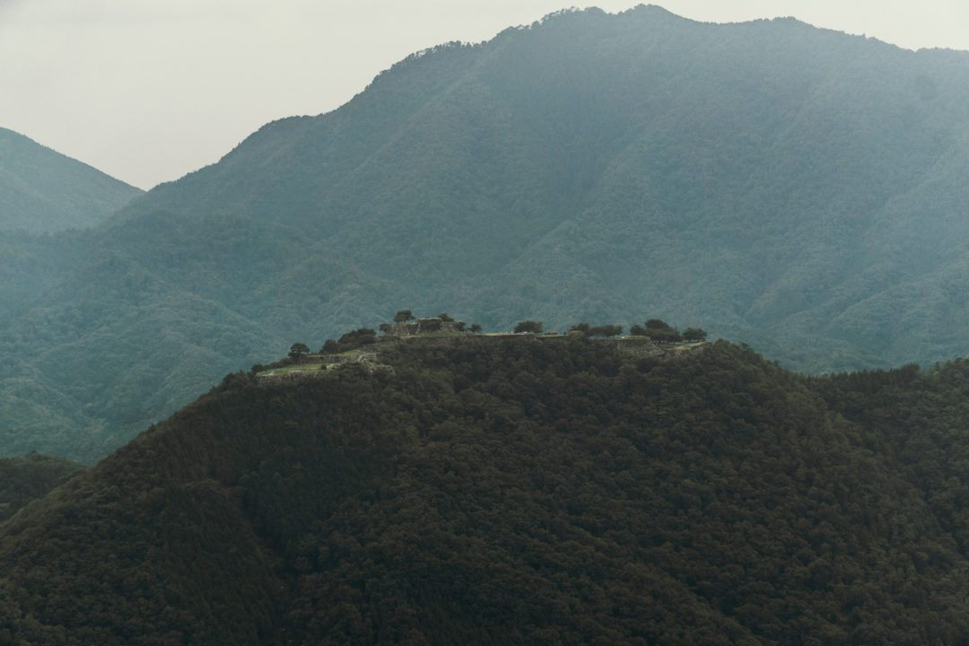 View of Takeda Castle Ruins from a distance.