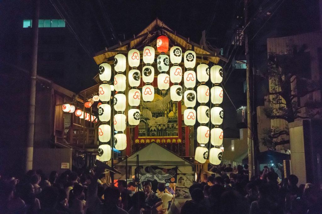 Illuminated float at night for Gion Matsuri.