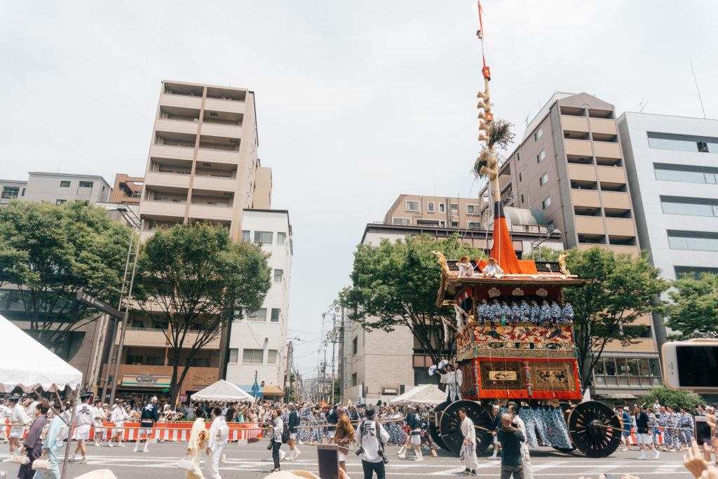 Moving a float at Gion Matsuri in Kyoto
