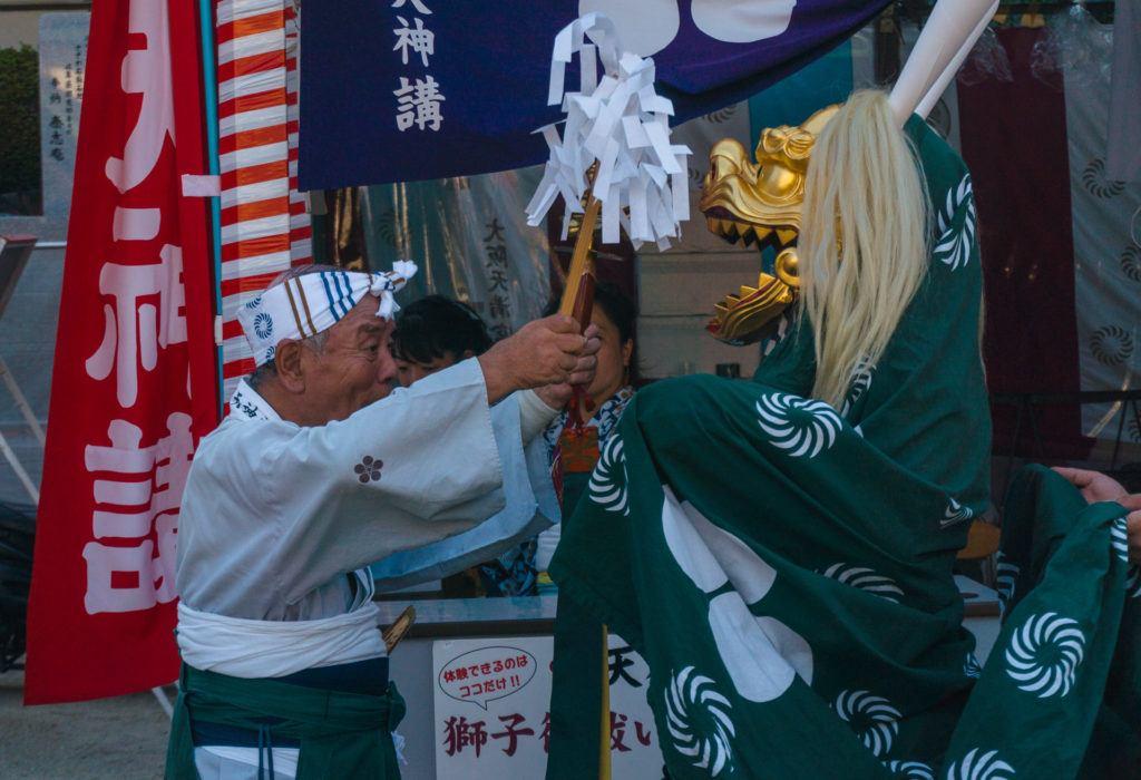 Shishimai lion dance at Tenjin Matsuri in Osaka