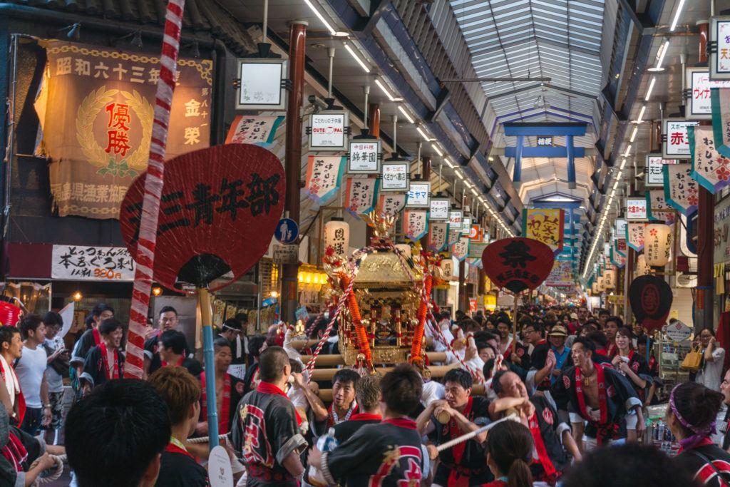 Floats for Tenjin Matsuri in Osaka, Japan