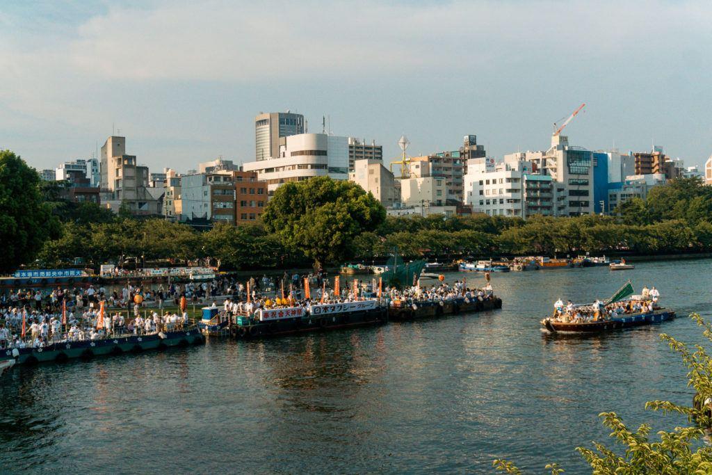 Boats at Tenjin Matsuri in Osaka