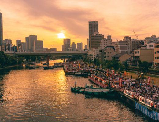Sunset on the river for Tenjin Matsuri in Osaka.