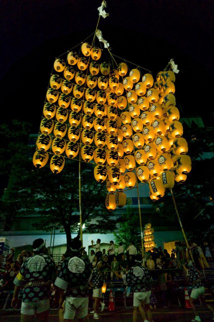 Kanto poles at the Akita Kanto festival