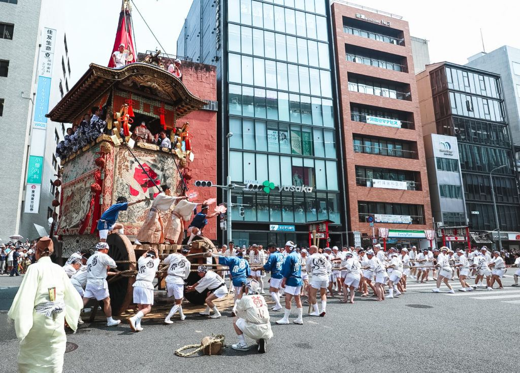Turning one of the floats at Gion Matsuri in Kyoto.