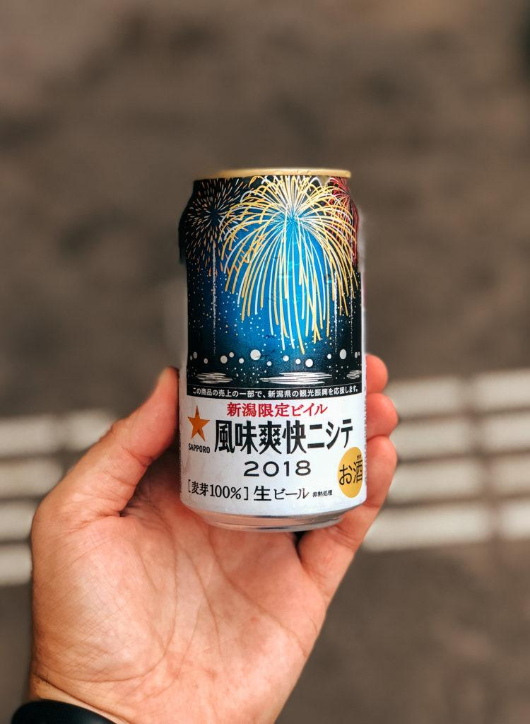 Specialty beer can at the Nagaoka fireworks festival.