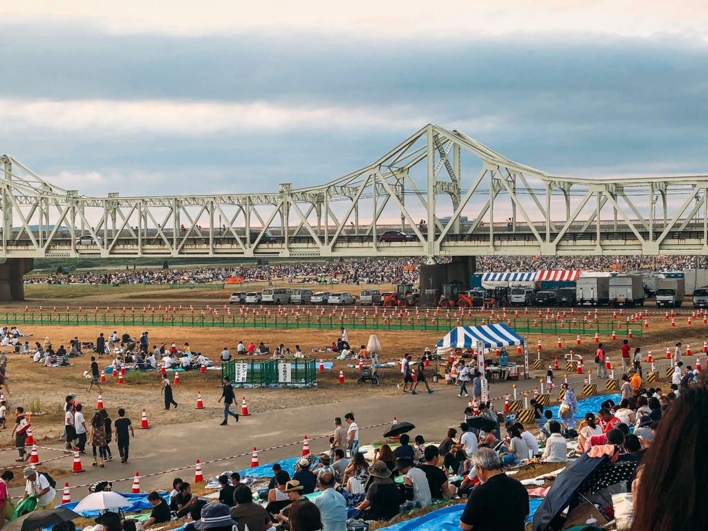 Free seating area for the Nagaoka fireworks festival.