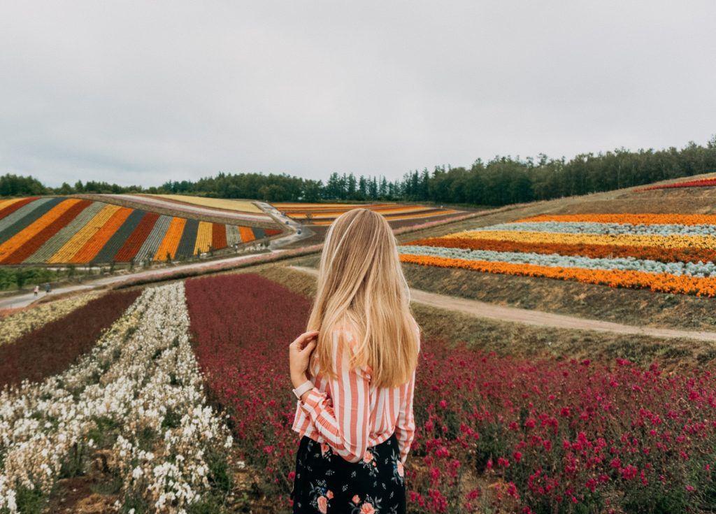 Shikisai no Oka flower field in Hokkaido.