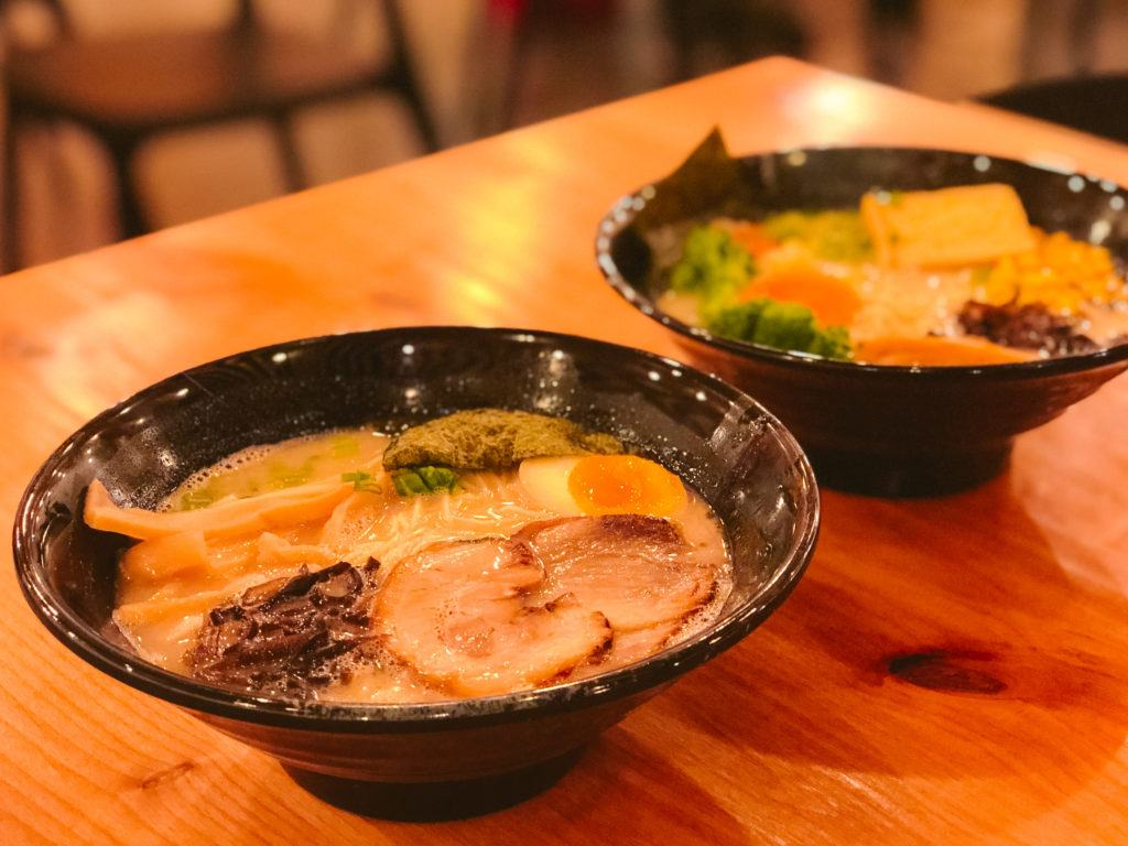 Tonkatsu and vegetarian ramen from Ramen Nara - best restaurants in Northwest Arkansas