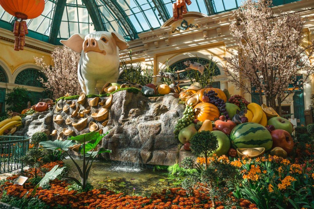 View of the Bellagio Botanical Garden and Conservatory in Las Vegas.