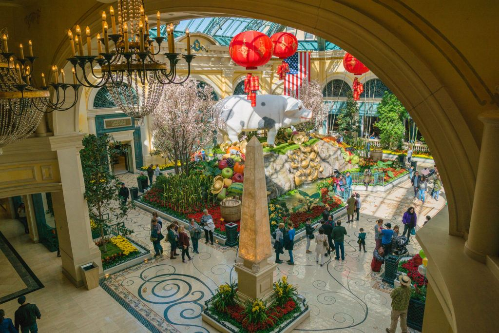View of the Bellagio Botanical Garden and Conservatory from above in Las Vegas.