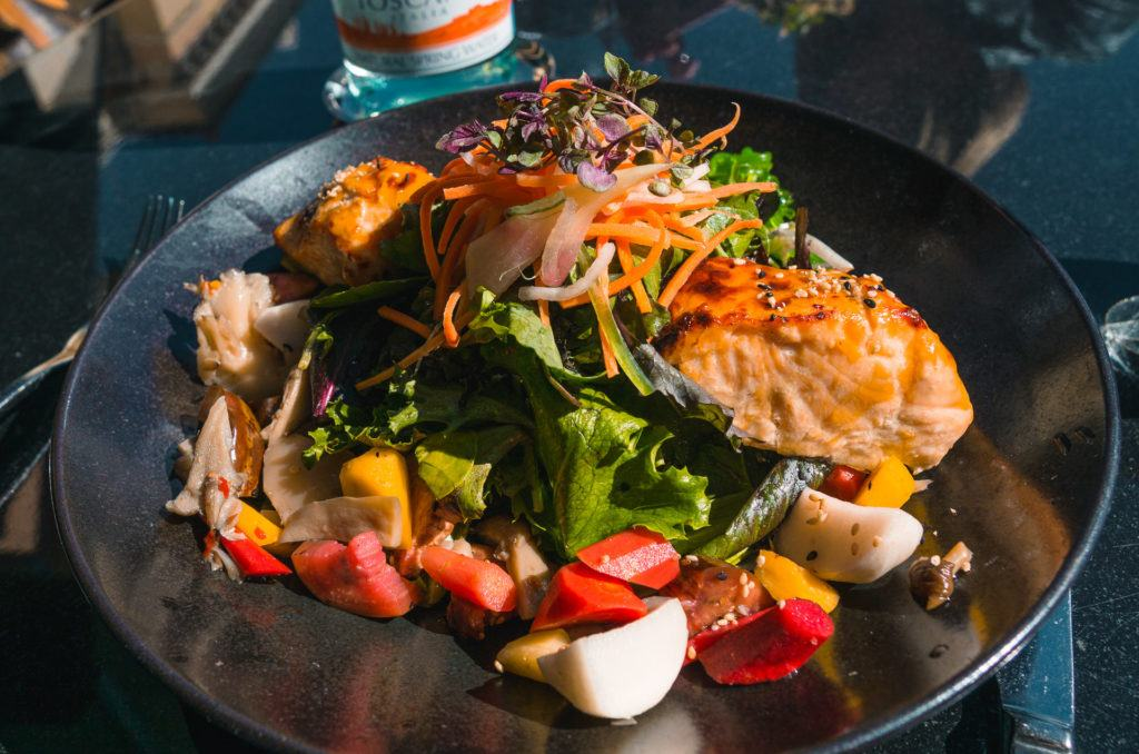 Miso-Glazed Salmon Salad from Spago in Las Vegas - girls trip to Vegas