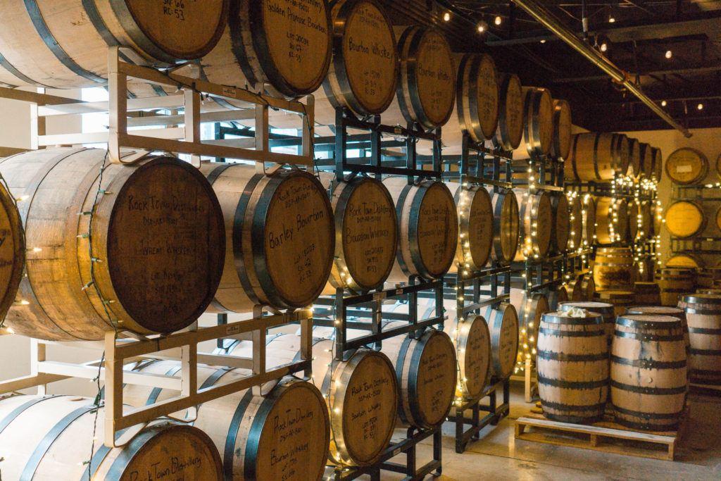 Barrel warehouse at Rock Town Distillery in Little Rock.
