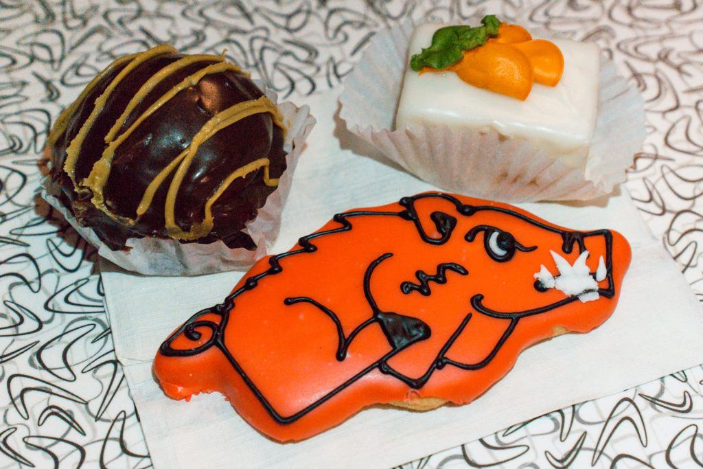Petit four and iced sugar cookie from Community Bakery in Little Rock, Arkansas