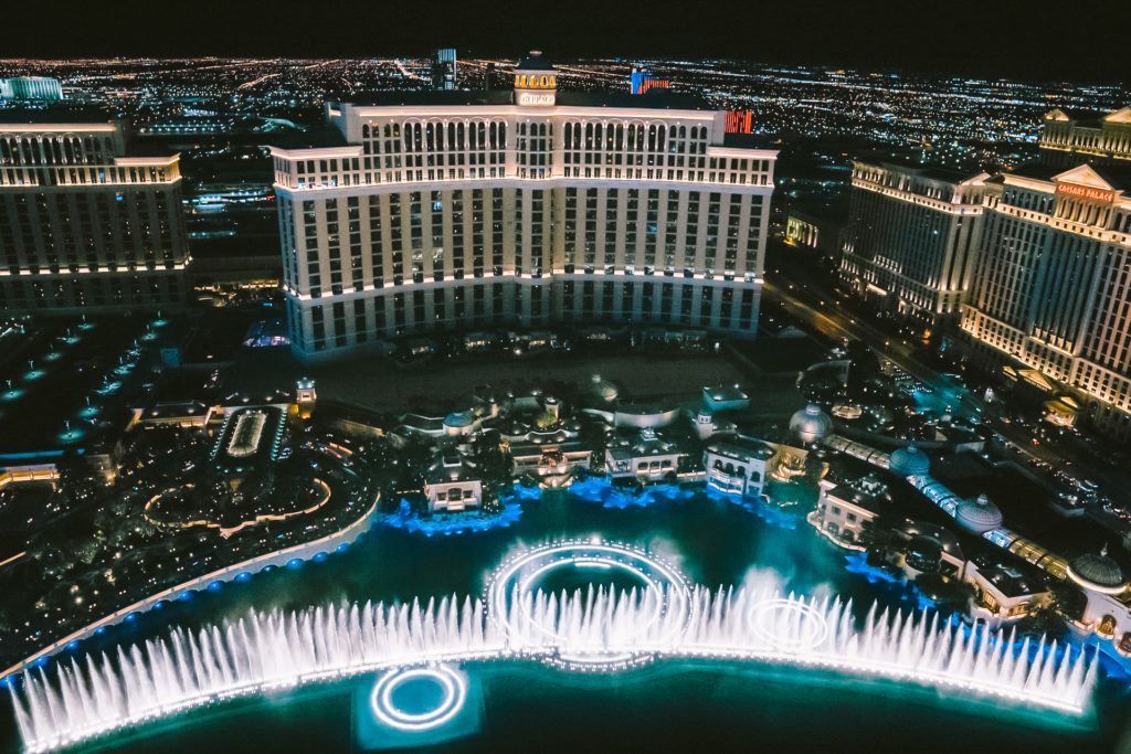 View of the Bellagio Fountain Show from the Eiffel Tower viewing deck in Las Vegas.