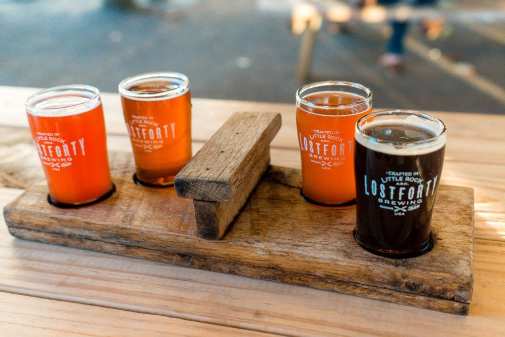 Beer flight from Lost Forty Brewery in Little Rock, Arkansas