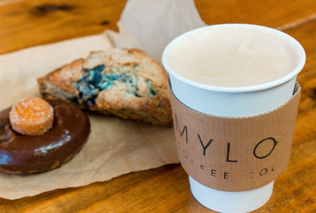 Latte, mochi donut, and blueberry almond scone from Mylo Coffee Co in Little Rock, Arkansas