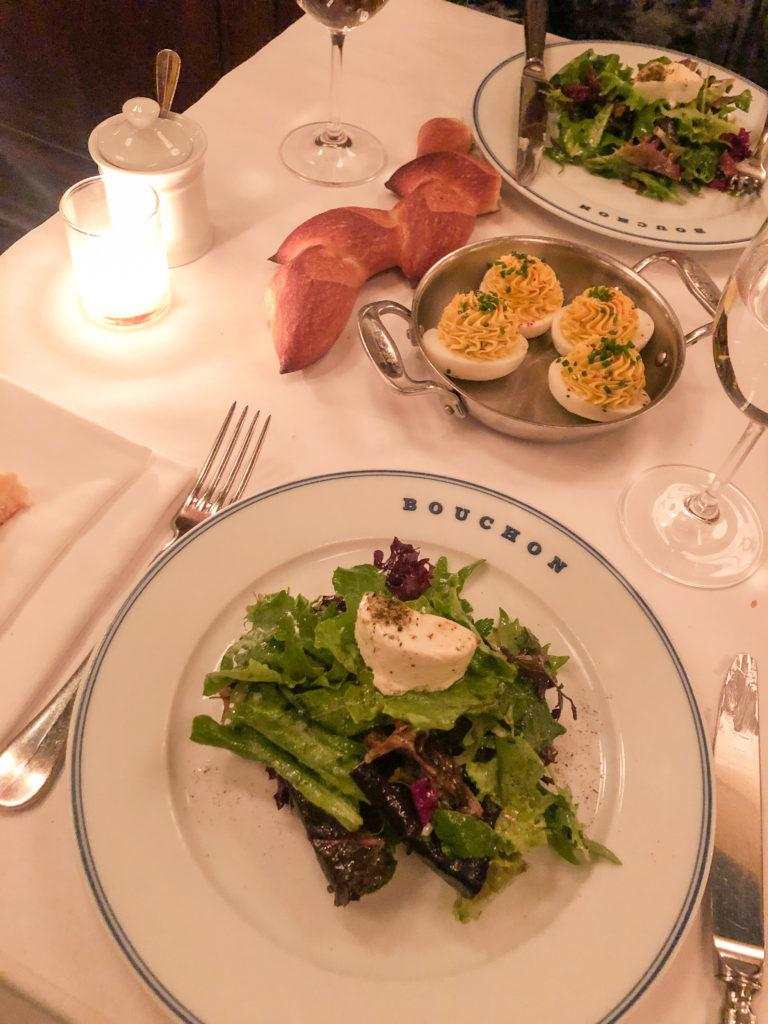 Salad and deviled eggs from Bouchon in Las Vegas - girls trip to Vegas