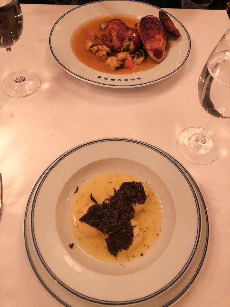 Truffle gnudi and roast chicken from Bouchon in Las Vegas - girls trip to Vegas