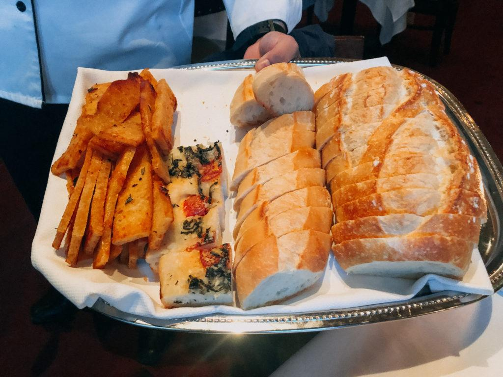 Assortment of breads at Il Mulino New York in Las Vegas