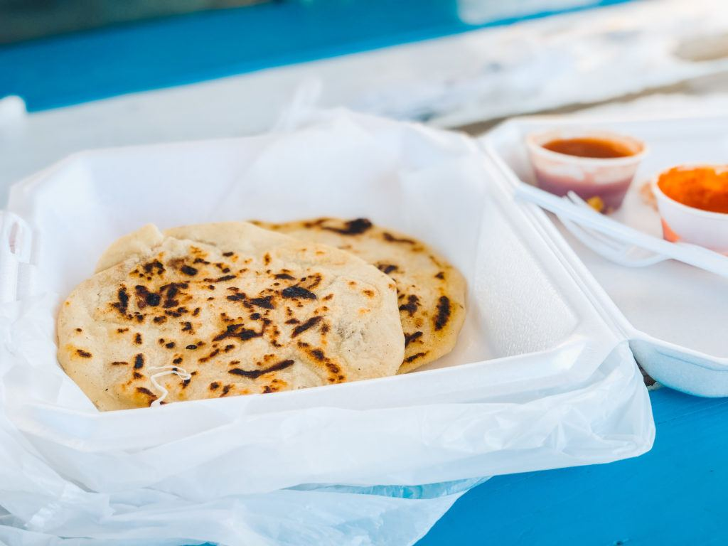 Pupusas from La Pupusa Mobile food truck by Lake Fayetteville in Arkansas.