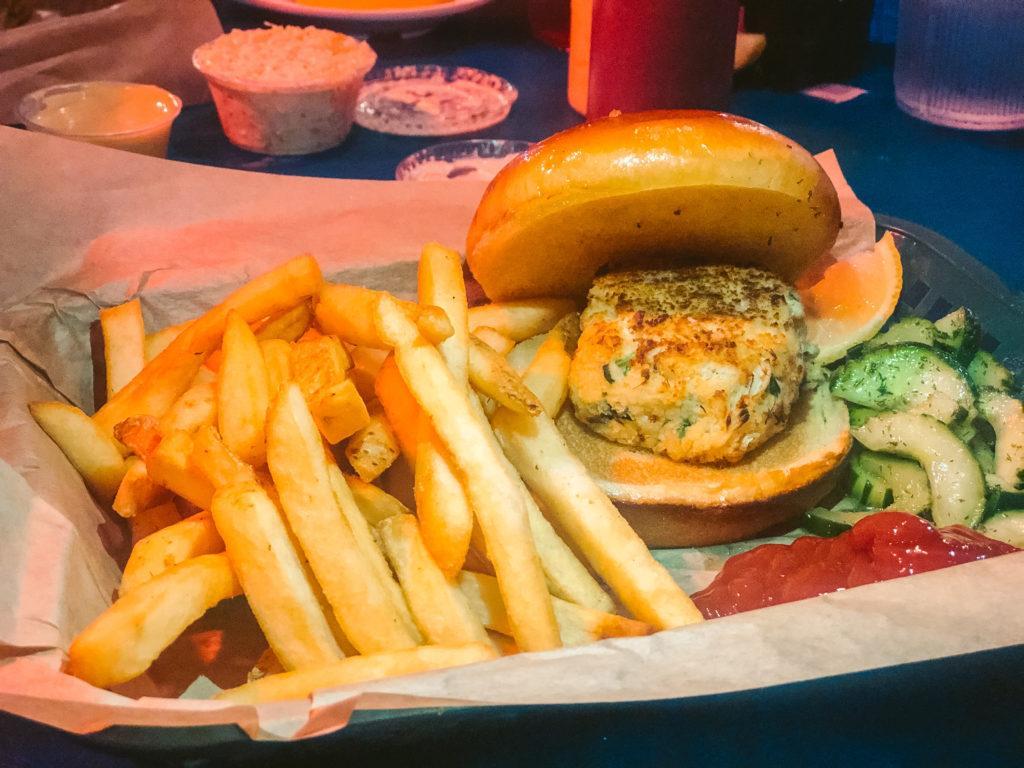 Crab cake sandwich from Phillipi Creek in Sarasota - best restaurants in Sarasota