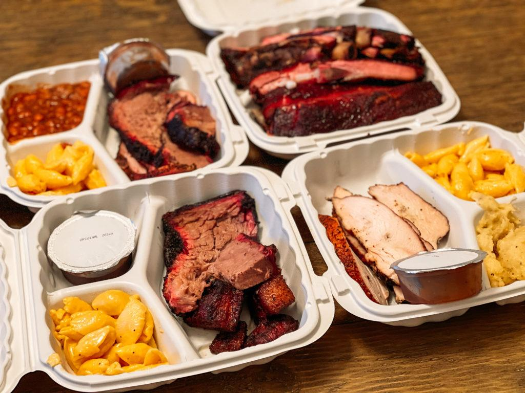 A variety of smoked meats and barbecue from Wright's Barbecue in Northwest Arkansas
