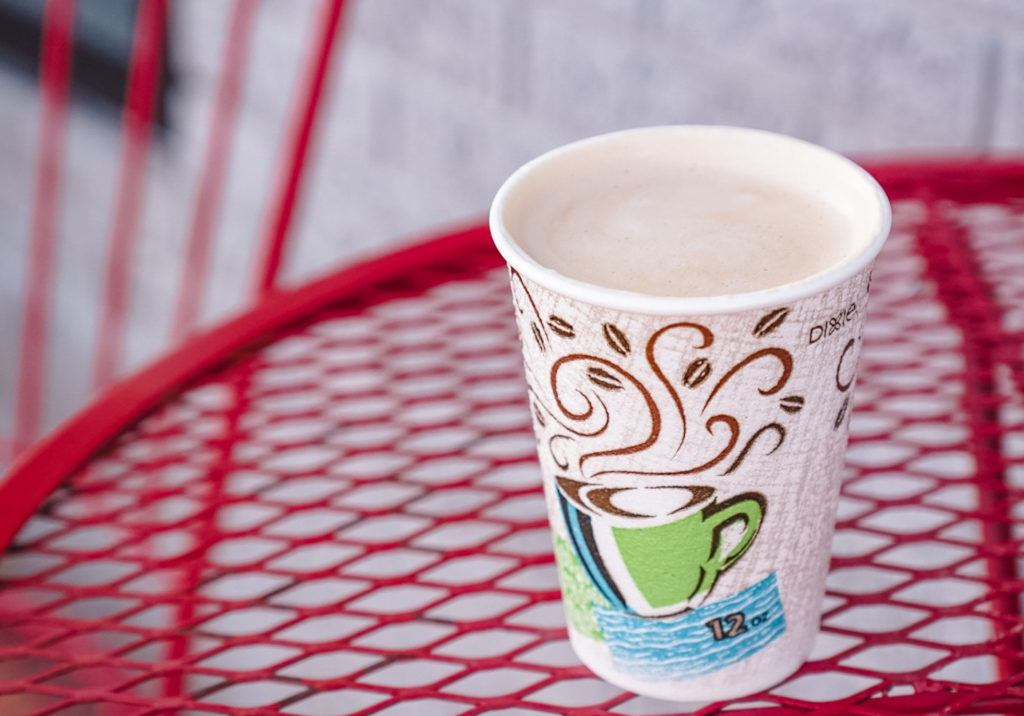 To-go coffee cup from Trailside Coffee Company in Springdale, Arkansas