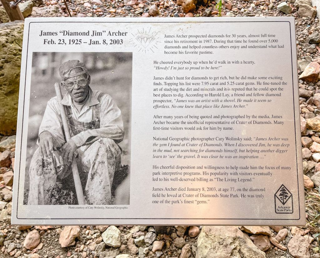 """Informational plaque of """"Diamond Jim"""", a well-known person at Crater of Diamonds State Park in Murfreesboro, Arkansas."""