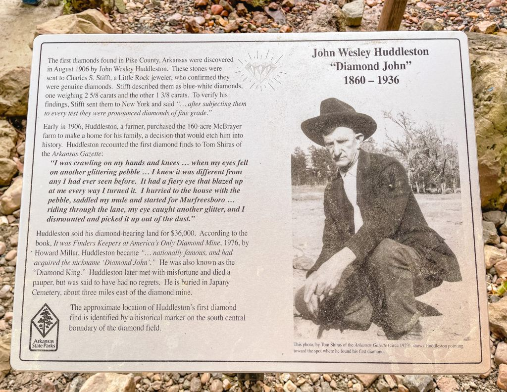 Informational photo plaque of John Wesley Huddleston at Crater of Diamonds State Park