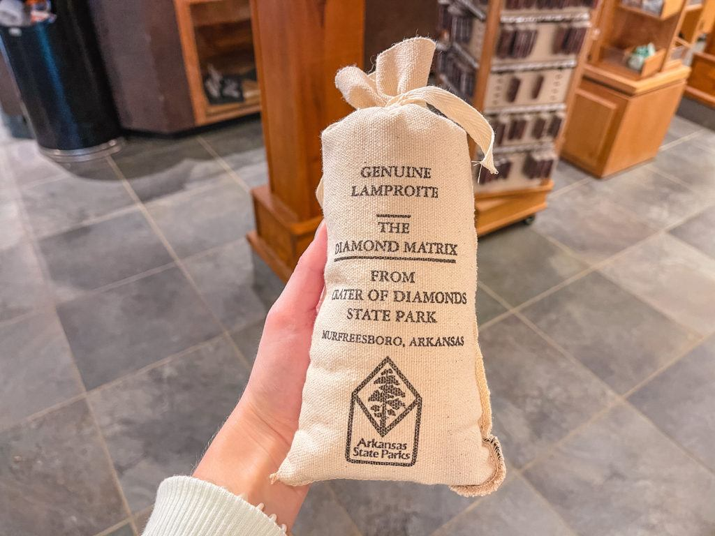 Bag of dirt and minerals from the gift shop at Crater of Diamonds State Park