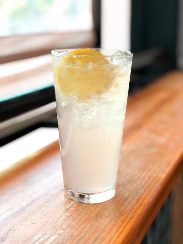 The Hummingbird drink (sparkling lavender lemonade) from Arasaga's in Fayetteville, Arkansas