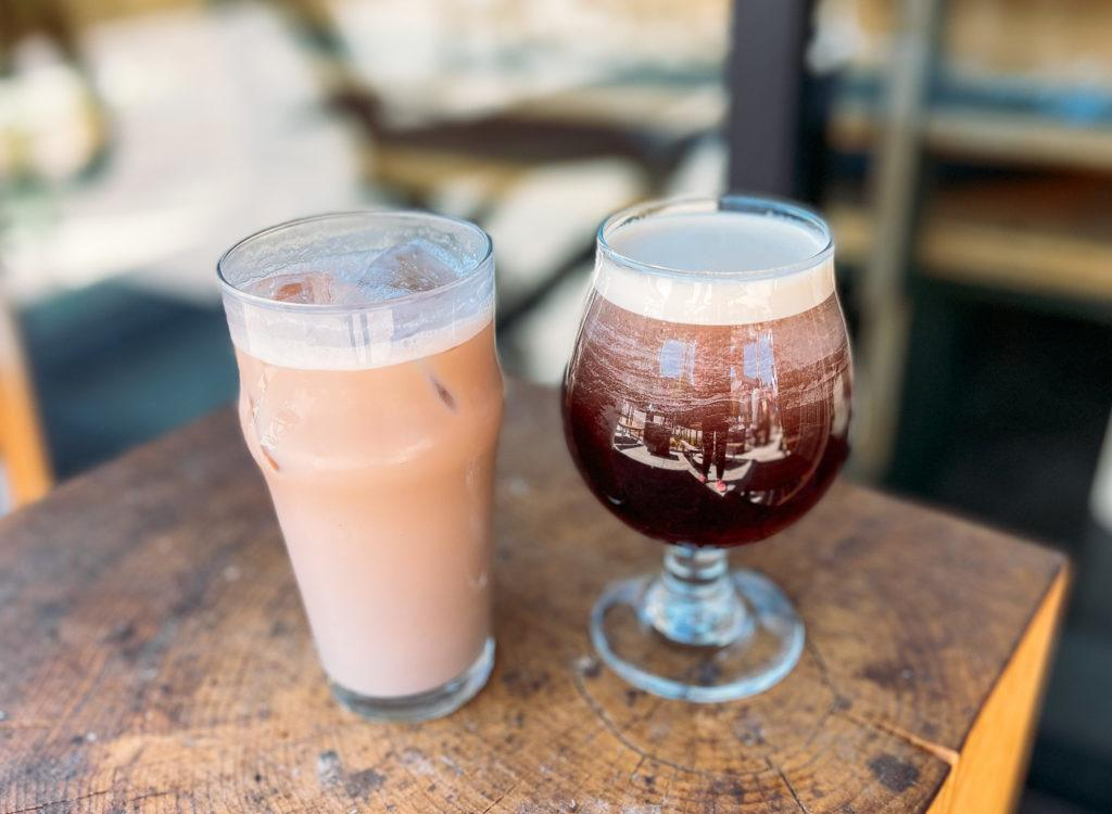 Iced Chai Latte (left) and Nitro Cold Brew (right) from the Meteor Cafe - coffee shops in Northwest Arkansas