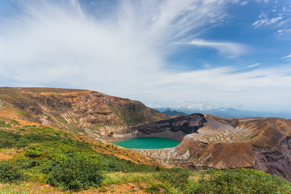 View of Okama Crater Lake on Mount Zao in Japan