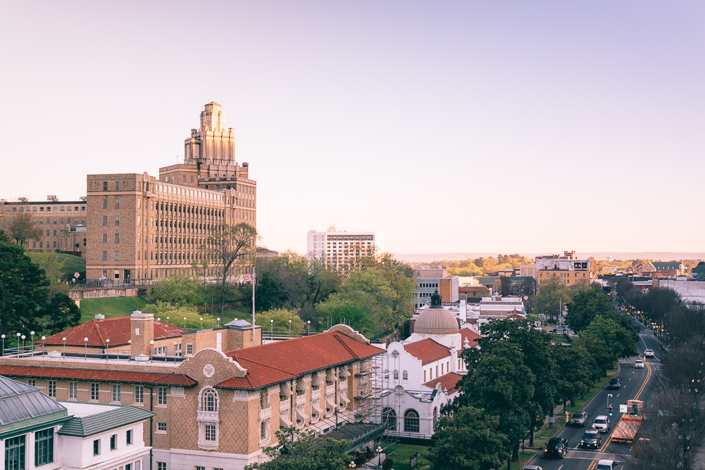 Aerial view of Downtown Hot Springs, Arkansas at sunset - things to do in Hot Springs