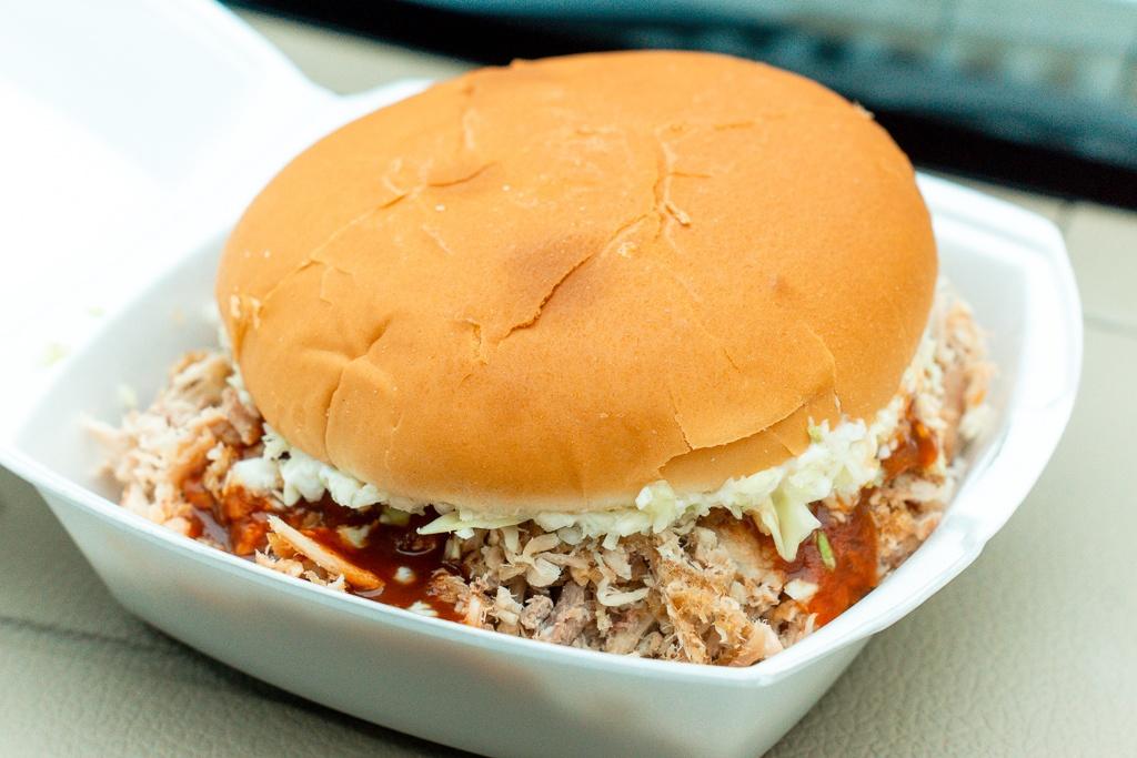 Pulled pork sandwich from McClard's BBQ in Hot Springs, Arkansas