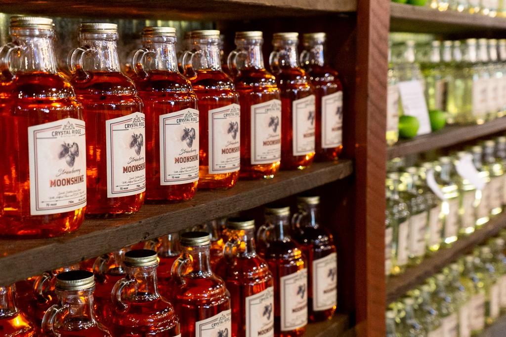 Bottles of strawberry moonshine at Crystal Ridge Distillery in Hot Springs, Arkansas.